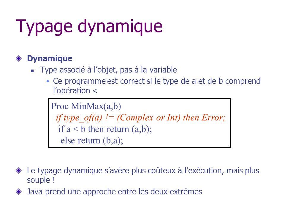 Typage dynamique Dynamique Type associé à lobjet, pas à la variable Ce programme est correct si le type de a et de b comprend lopération < Le typage d