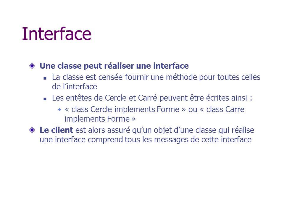 Interface Une classe peut réaliser une interface La classe est censée fournir une méthode pour toutes celles de linterface Les entêtes de Cercle et Ca