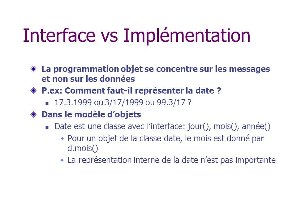 Interface vs Implémentation La programmation objet se concentre sur les messages et non sur les données P.ex: Comment faut-il représenter la date ? 17