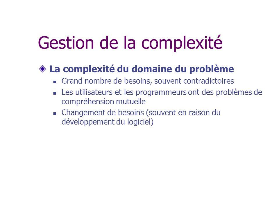 Gestion de la complexité Difficulté de contrôle du procédé de développement Les grands problèmes mènent à de grandes équipes de développement, ce qui complique la communication Plus la complexité du domaine du problème est grande, plus la gestion du projet devra être ferme.