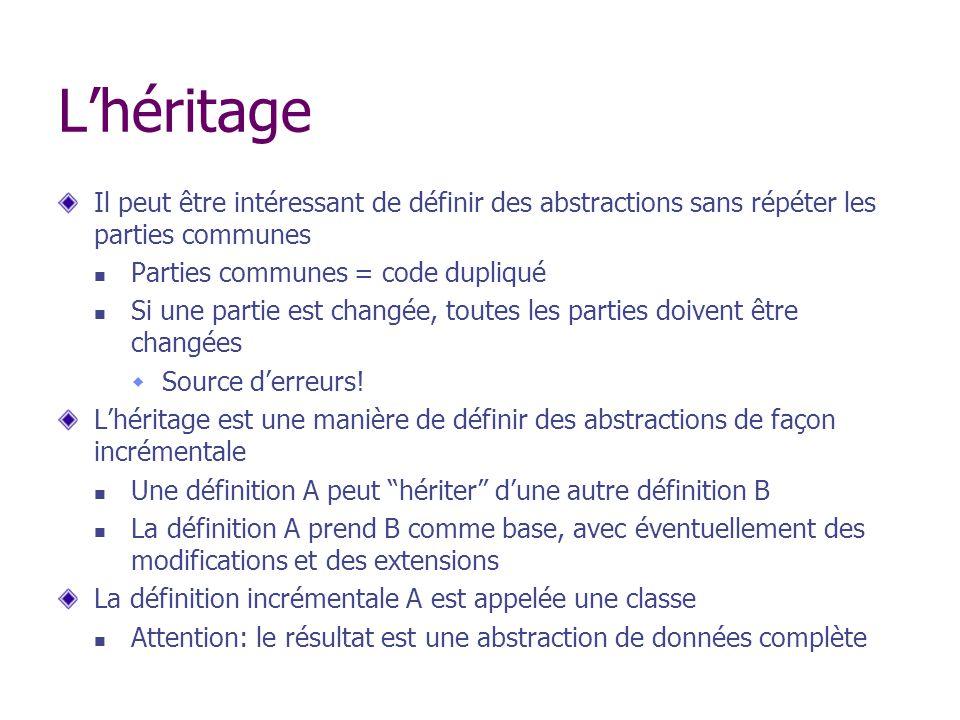 Lhéritage Il peut être intéressant de définir des abstractions sans répéter les parties communes Parties communes = code dupliqué Si une partie est ch