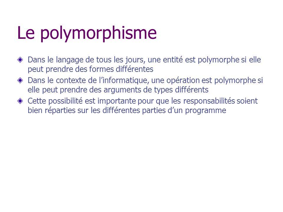 Le polymorphisme Dans le langage de tous les jours, une entité est polymorphe si elle peut prendre des formes différentes Dans le contexte de linforma