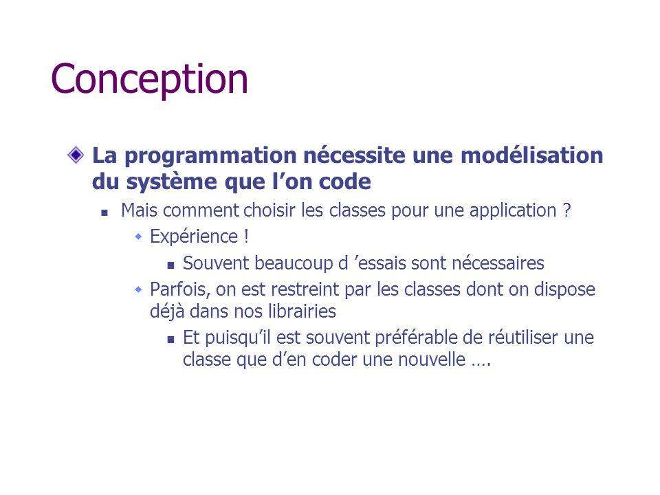 Conception La programmation nécessite une modélisation du système que lon code Mais comment choisir les classes pour une application ? Expérience ! So