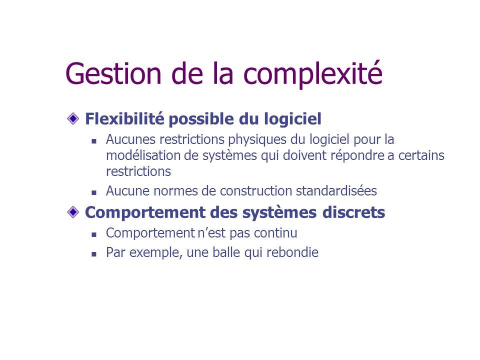 Gestion de la complexité Flexibilité possible du logiciel Aucunes restrictions physiques du logiciel pour la modélisation de systèmes qui doivent répo