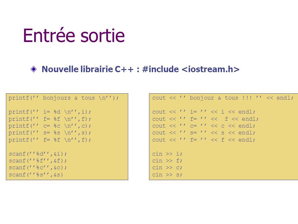 Entrée sortie Nouvelle librairie C++ : #include printf( bonjours a tous \n); printf( i= %d \n,i); printf( f= %f \n,f); printf( c= %c \n,c); printf( s=