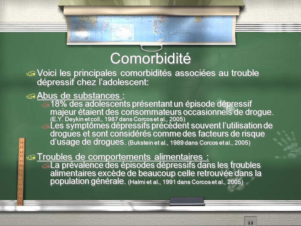 Comorbidité Voici les principales comorbidités associées au trouble dépressif chez ladolescent: Abus de substances : 18% des adolescents présentant un