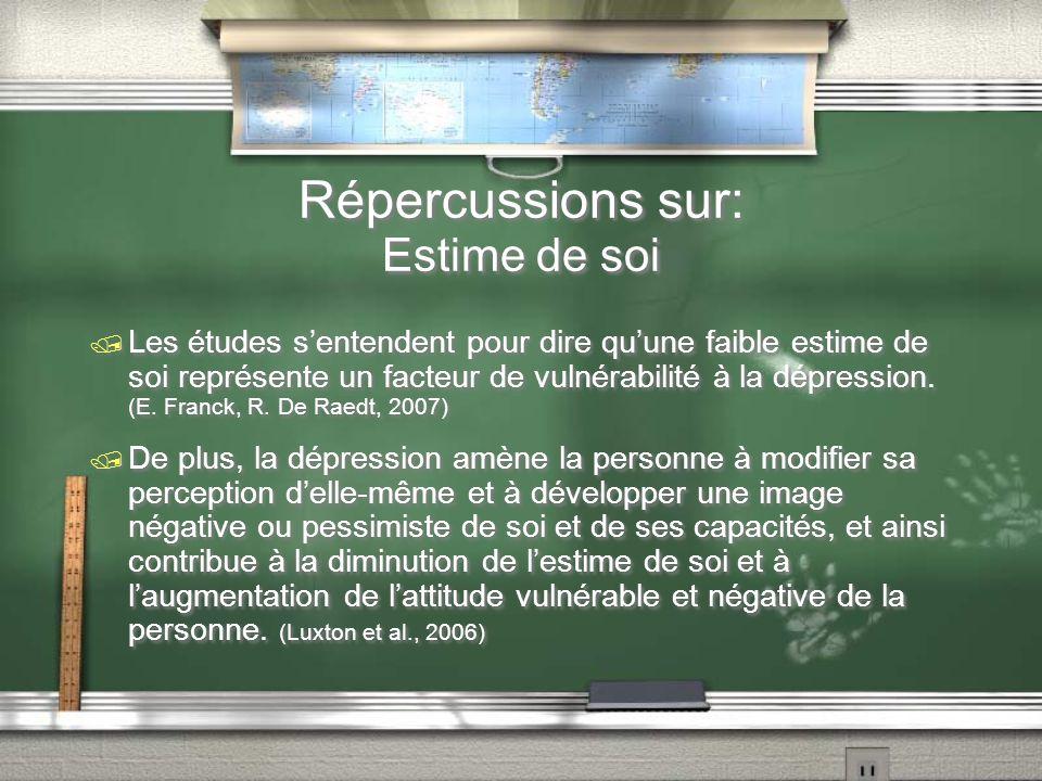 Répercussions sur: Estime de soi Les études sentendent pour dire quune faible estime de soi représente un facteur de vulnérabilité à la dépression. (E