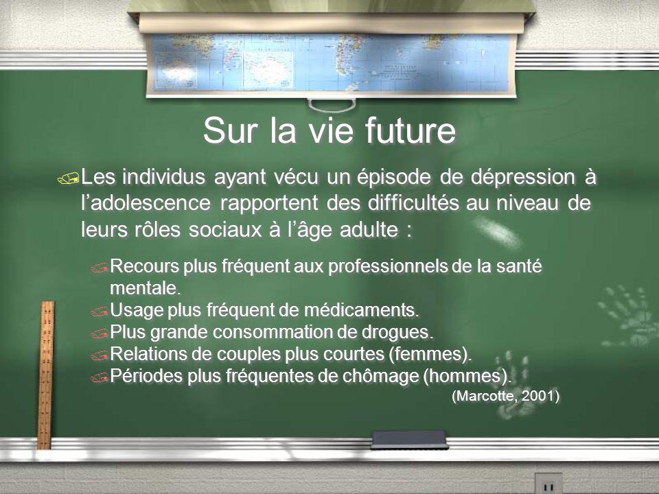 Sur la vie future Les individus ayant vécu un épisode de dépression à ladolescence rapportent des difficultés au niveau de leurs rôles sociaux à lâge