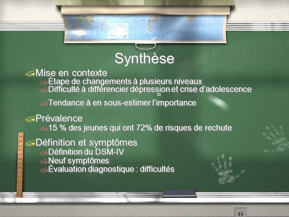 Synthèse Mise en contexte Étape de changements à plusieurs niveaux Difficulté à différencier dépression et crise dadolescence = Tendance à en sous-est