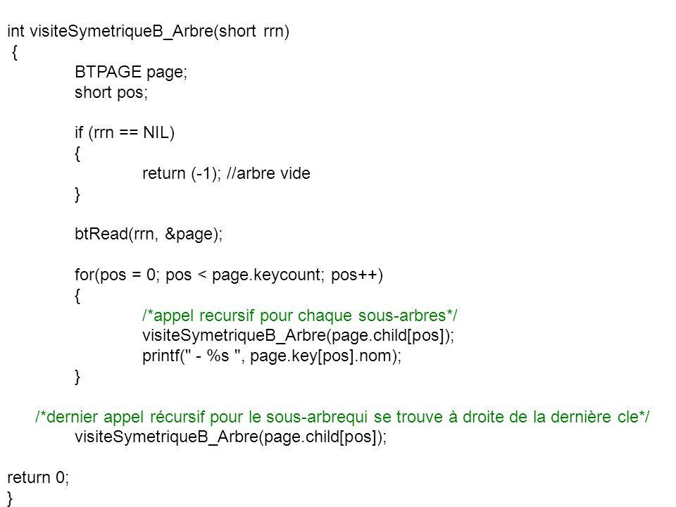 int visiteSymetriqueB_Arbre(short rrn) { BTPAGE page; short pos; if (rrn == NIL) { return (-1); //arbre vide } btRead(rrn, &page); for(pos = 0; pos <
