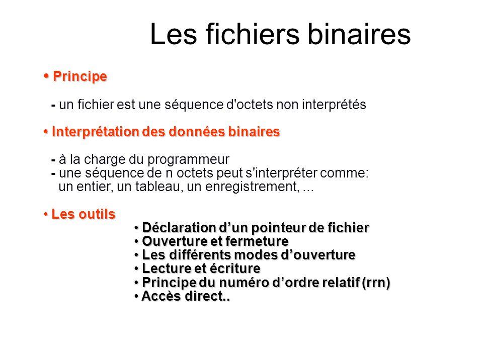 Les fichiers binaires Principe Principe - un fichier est une séquence d'octets non interprétés Interprétation des données binaires Interprétation des