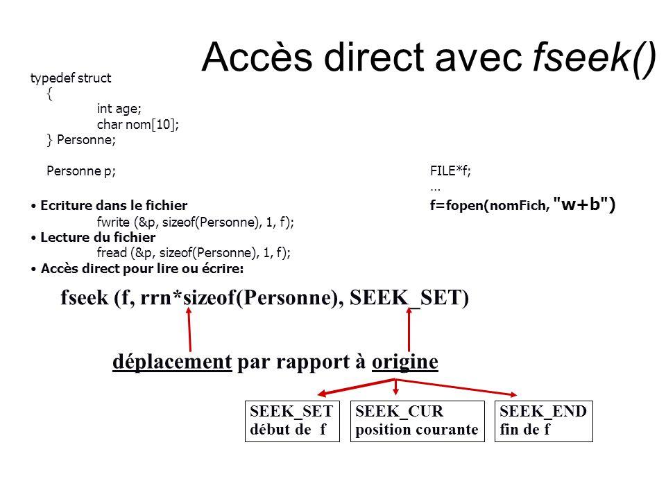 Accès direct avec fseek() fseek (f, rrn*sizeof(Personne), SEEK_SET) déplacement par rapport à origine SEEK_SET début de f SEEK_CUR position courante S