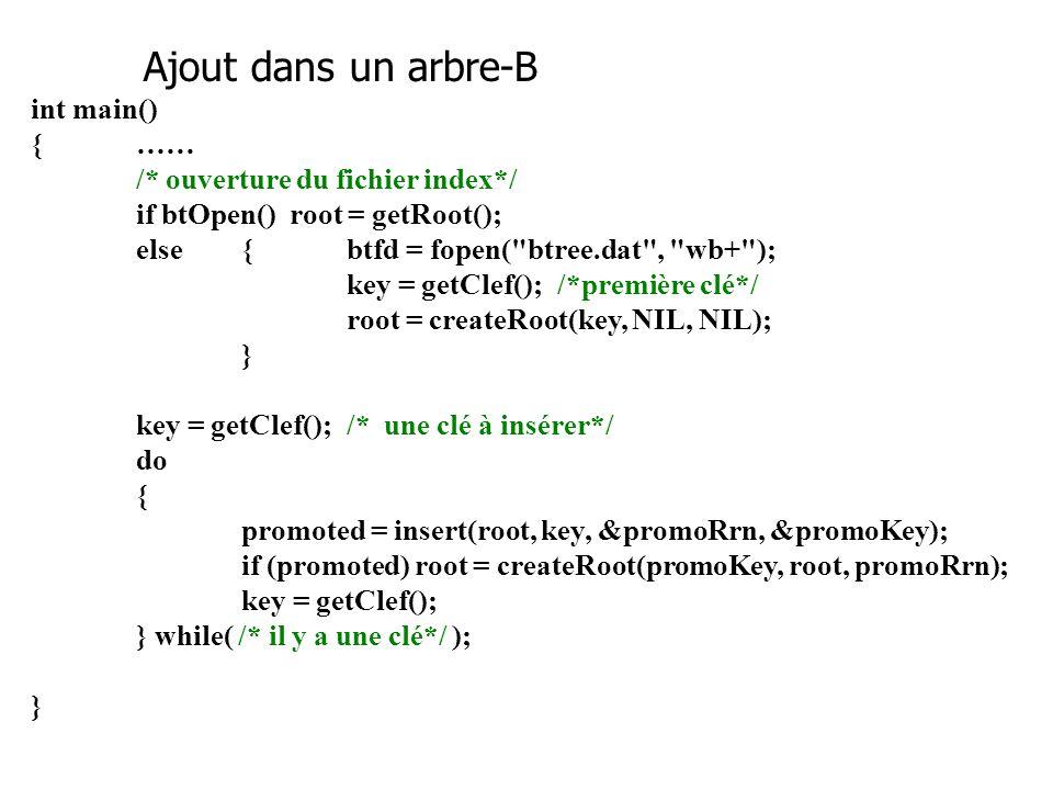 /***** insert.c **** Contient la fonction insert() qui insère une clef dans un arbre-B.