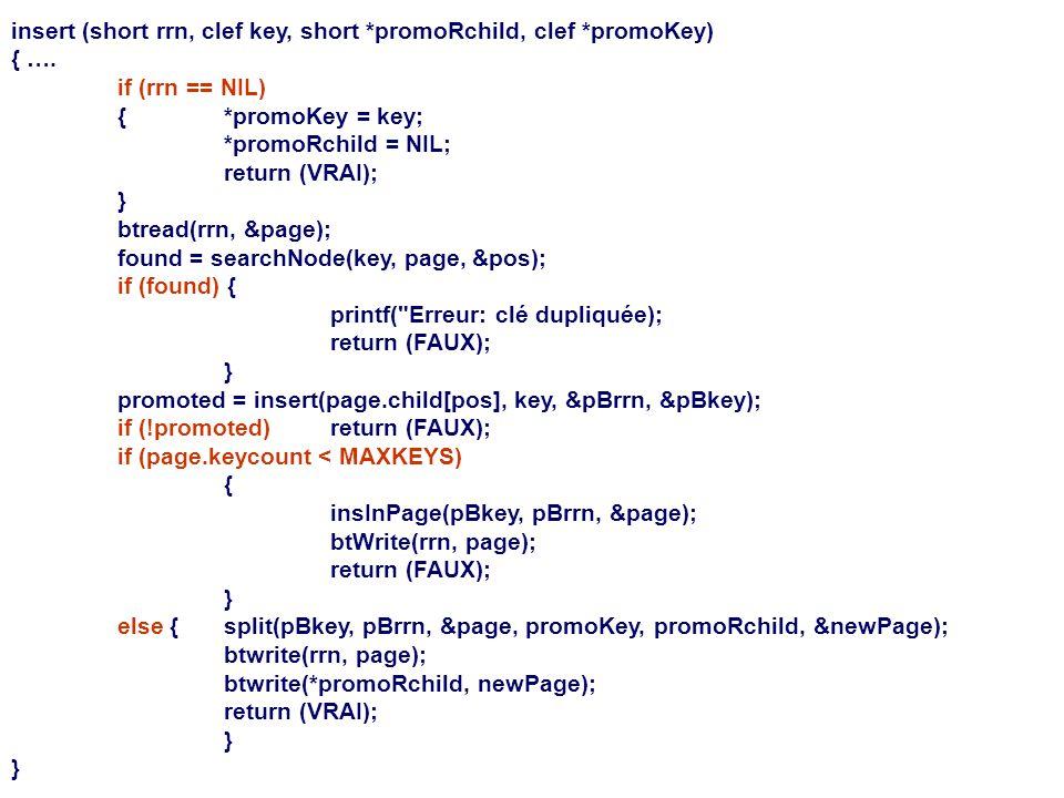insert (short rrn, clef key, short *promoRchild, clef *promoKey) { …. if (rrn == NIL) {*promoKey = key; *promoRchild = NIL; return (VRAI); } btread(rr