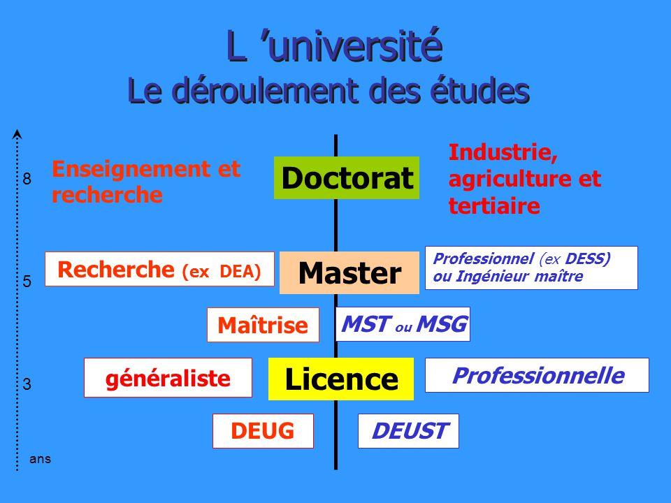 Enseignement et recherche Industrie, agriculture et tertiaire Licence Maîtrise Master DEUG Recherche (ex DEA) Professionnel (ex DESS) ou Ingénieur maî