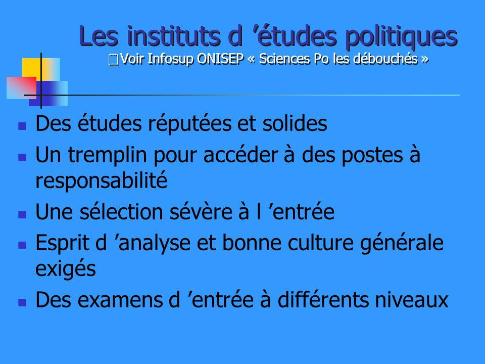 Les instituts d études politiques Voir Infosup ONISEP « Sciences Po les débouchés » Des études réputées et solides Un tremplin pour accéder à des post
