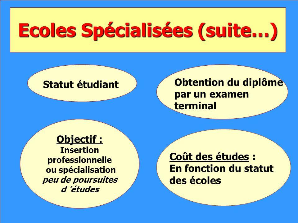 Ecoles Spécialisées (suite…) Statut étudiant Obtention du diplôme par un examen terminal Objectif : Insertion professionnelle ou spécialisation peu de