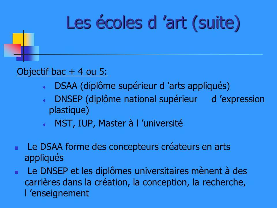 Les écoles d art (suite) Objectif bac + 4 ou 5: DSAA (diplôme supérieur d arts appliqués) DNSEP (diplôme national supérieur d expression plastique) MS
