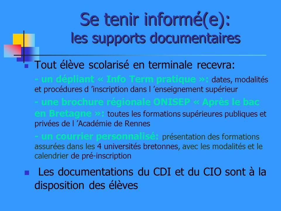 Se tenir informé(e): les supports documentaires Tout élève scolarisé en terminale recevra: - un dépliant « Info Term pratique »: dates, modalités et p