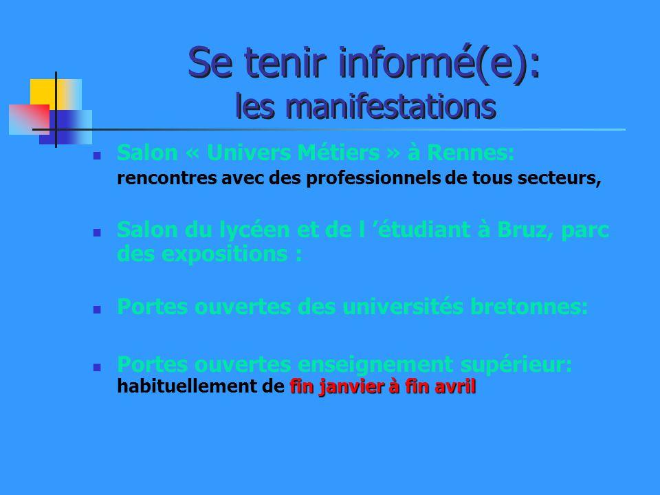 Se tenir informé(e): les manifestations Salon « Univers Métiers » à Rennes: rencontres avec des professionnels de tous secteurs, Salon du lycéen et de