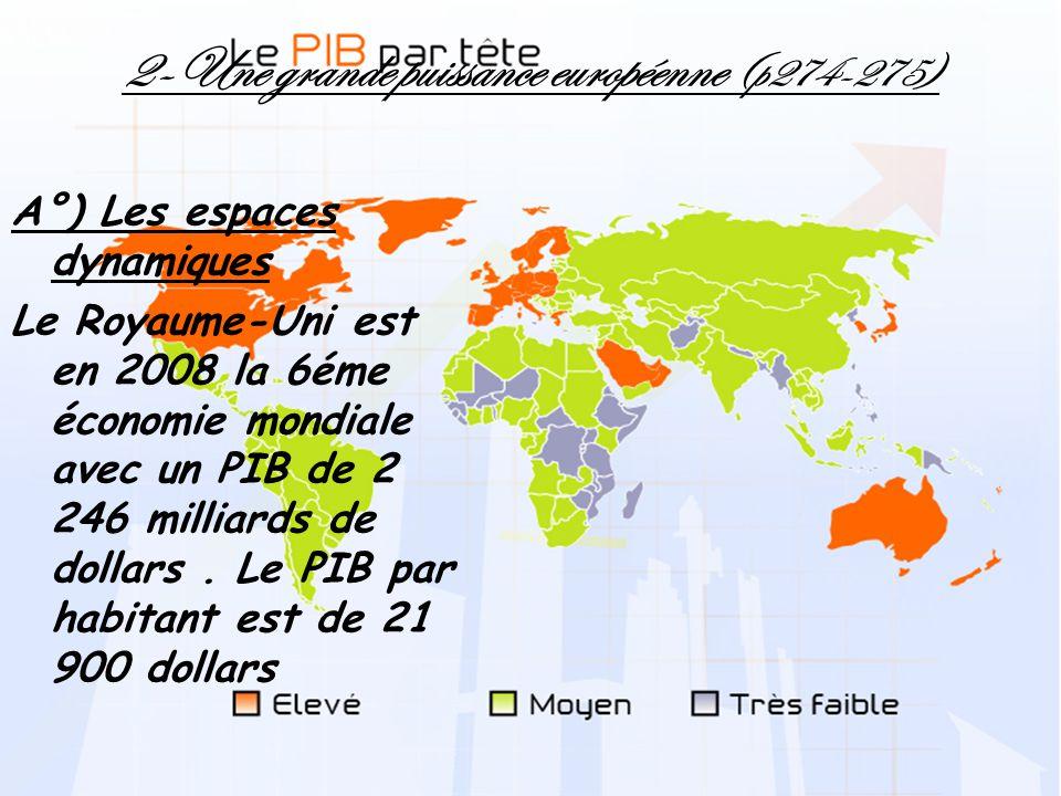 2-Une grande puissance européenne (p274-275) A°) Les espaces dynamiques Le Royaume-Uni est en 2008 la 6éme économie mondiale avec un PIB de 2 246 mill