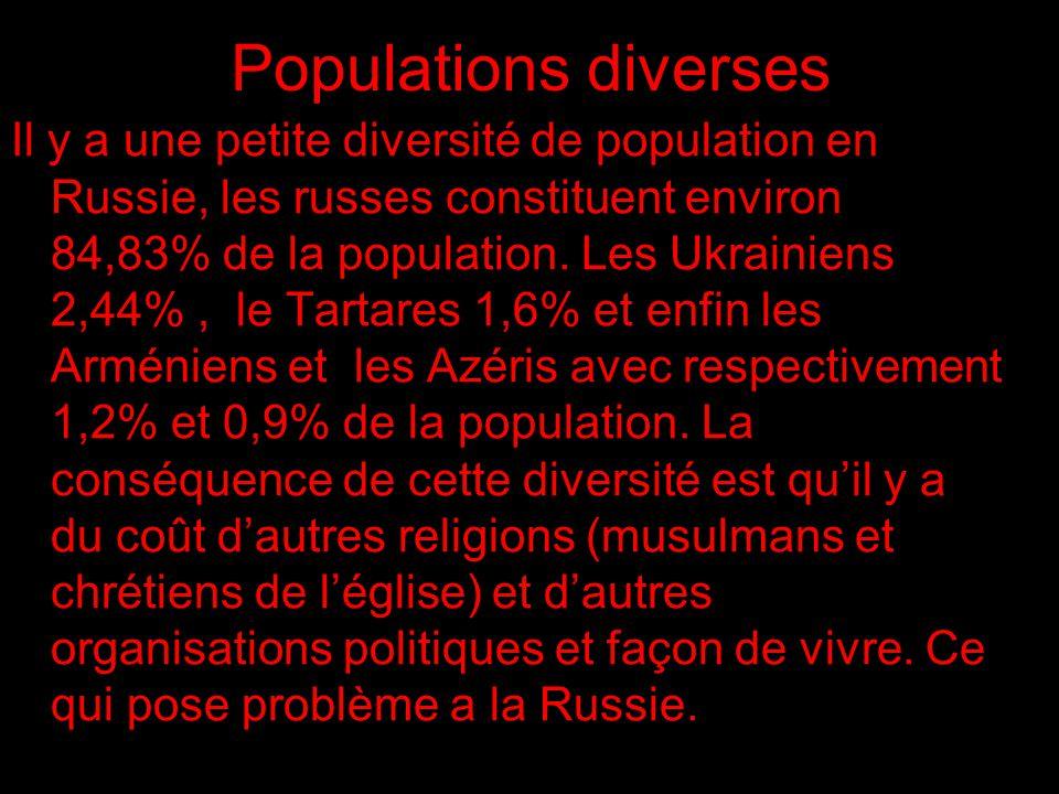 Populations diverses Il y a une petite diversité de population en Russie, les russes constituent environ 84,83% de la population.