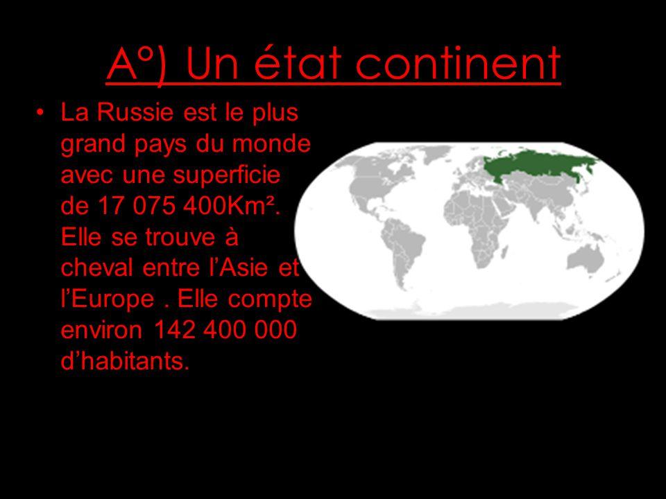 A°) Un état continent La Russie est le plus grand pays du monde avec une superficie de 17 075 400Km².
