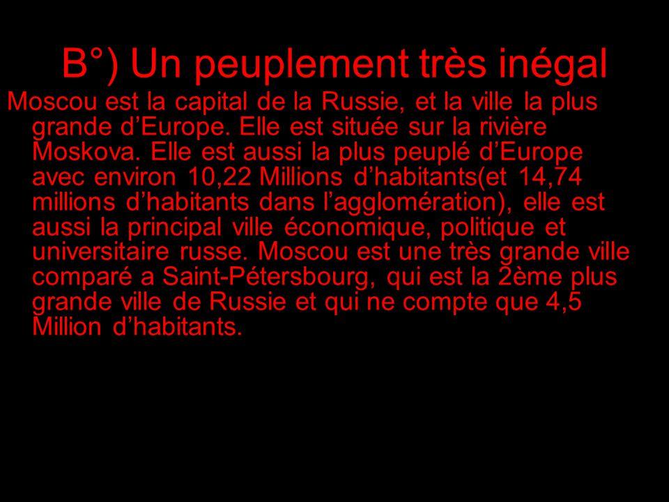 B°) Un peuplement très inégal Moscou est la capital de la Russie, et la ville la plus grande dEurope.