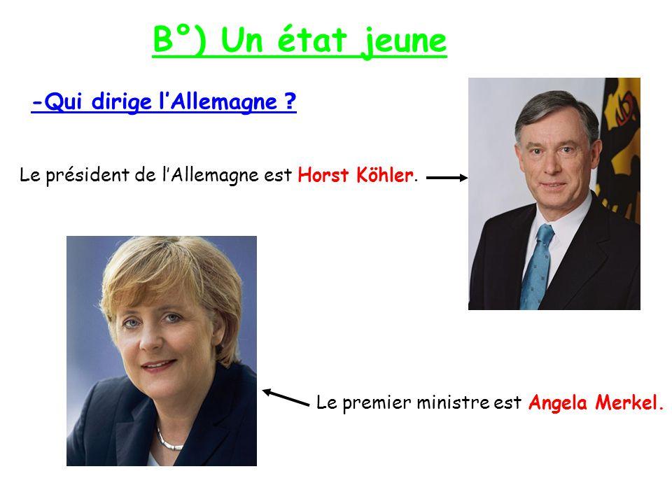 B°) Un état jeune -Qui dirige lAllemagne .Le président de lAllemagne est Horst Köhler.