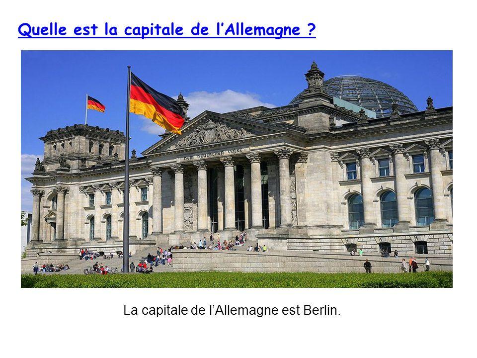 Quelle est la capitale de lAllemagne ? La capitale de lAllemagne est Berlin.