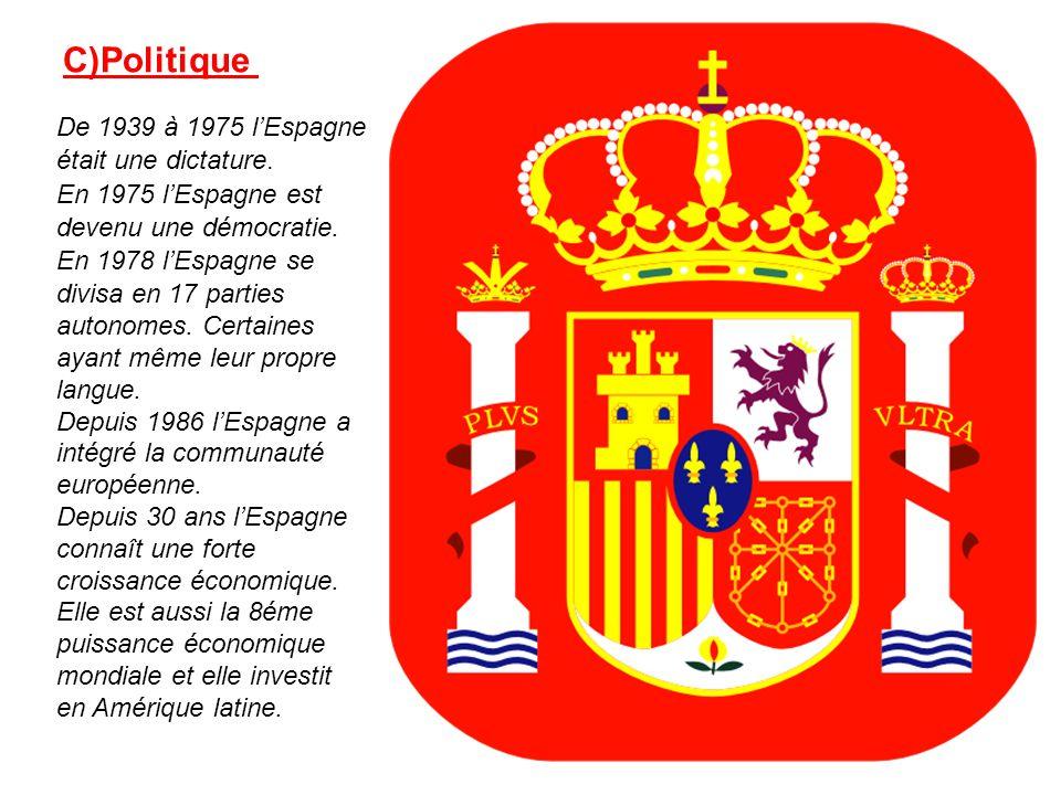 De 1939 à 1975 lEspagne était une dictature. En 1975 lEspagne est devenu une démocratie. En 1978 lEspagne se divisa en 17 parties autonomes. Certaines