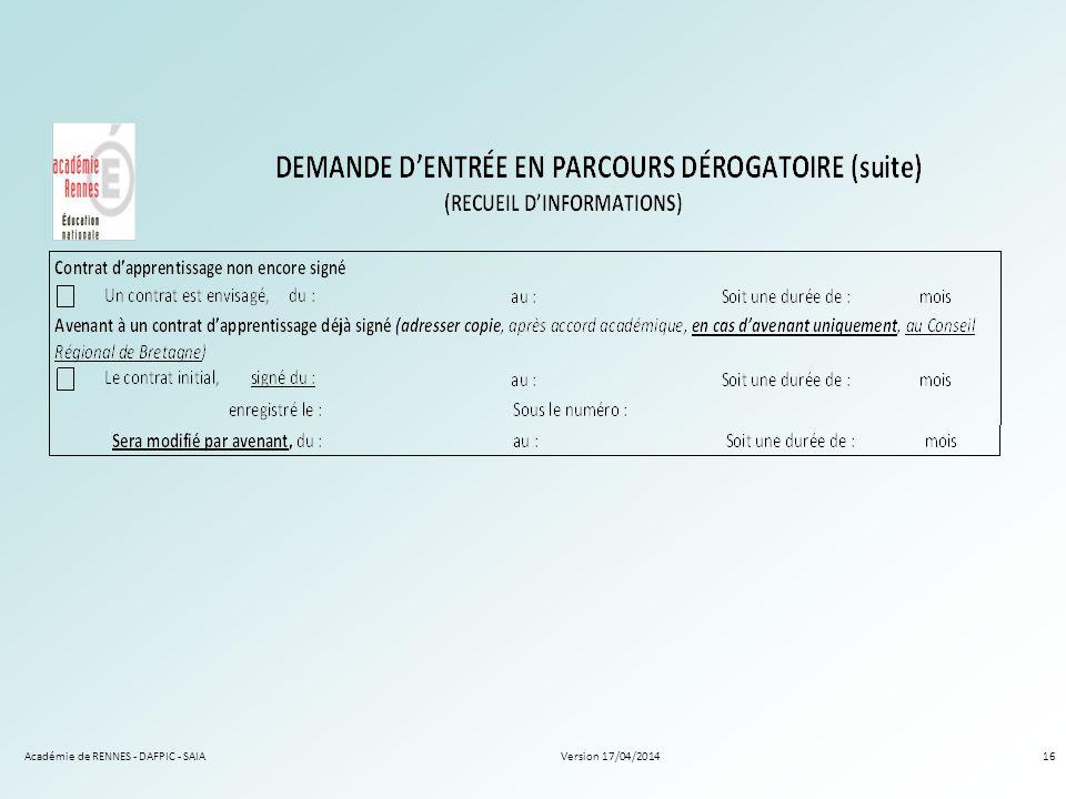 Version 17/04/2014Académie de RENNES - DAFPIC - SAIA16