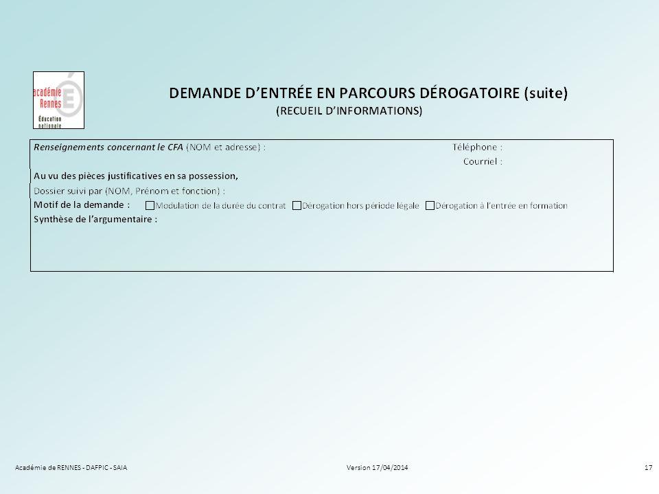 Version 17/04/2014Académie de RENNES - DAFPIC - SAIA17