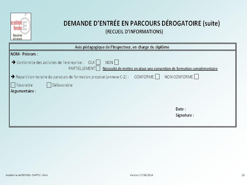 Version 17/04/2014Académie de RENNES - DAFPIC - SAIA18