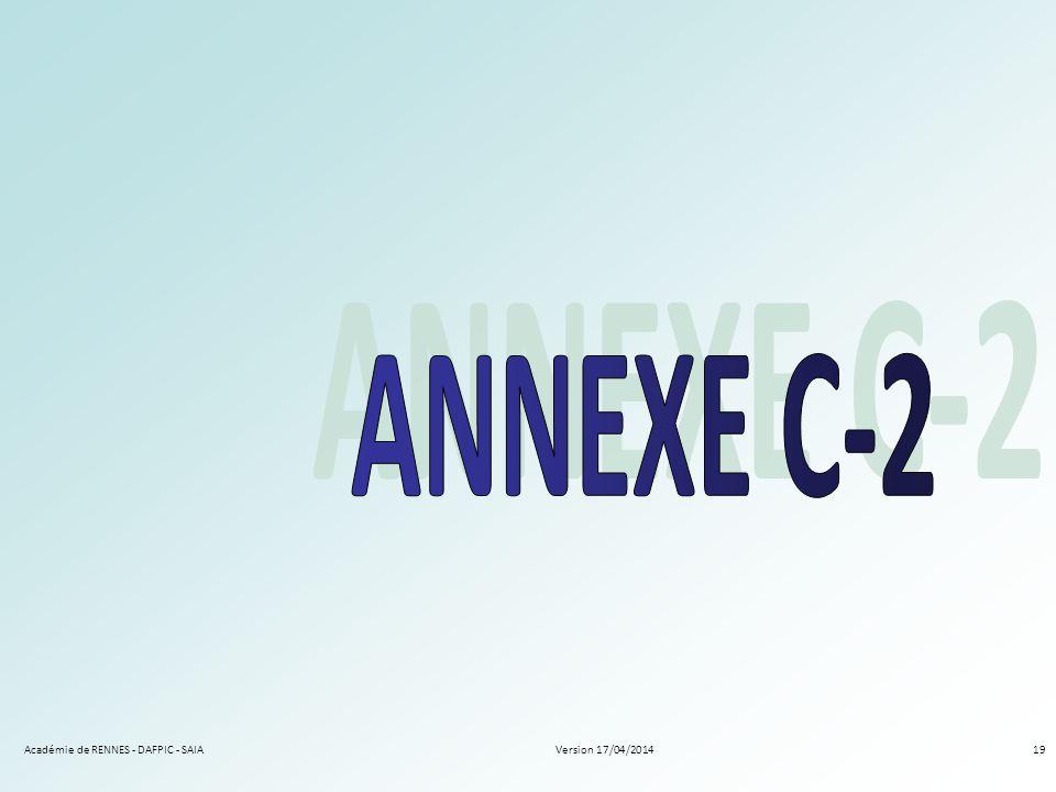 Version 17/04/2014Académie de RENNES - DAFPIC - SAIA19