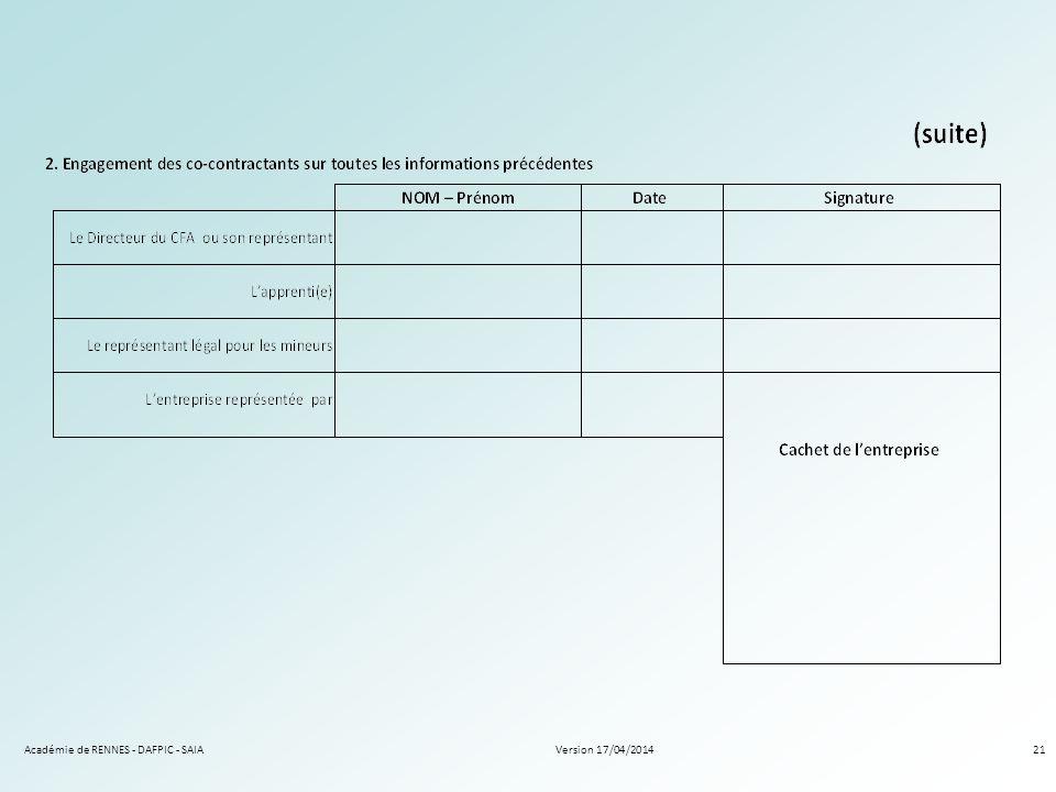 Version 17/04/2014Académie de RENNES - DAFPIC - SAIA21