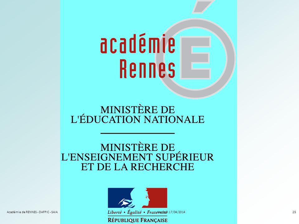 Académie de RENNES - DAFPIC - SAIA25Version 17/04/2014
