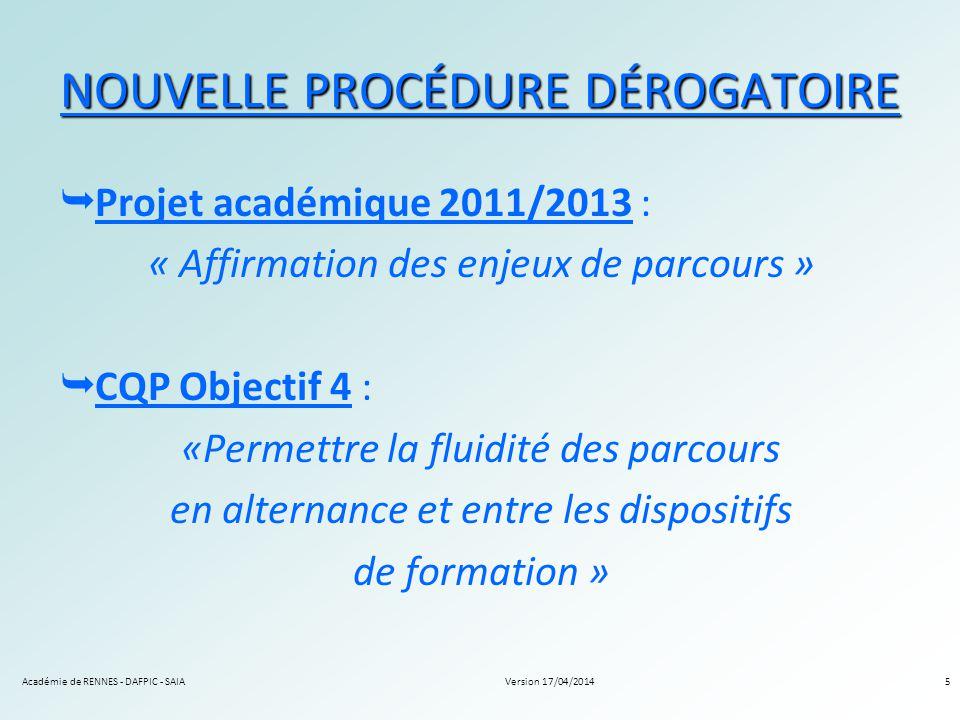 Version 17/04/2014Académie de RENNES - DAFPIC - SAIA5 NOUVELLE PROCÉDURE DÉROGATOIRE Projet académique 2011/2013 : « Affirmation des enjeux de parcour