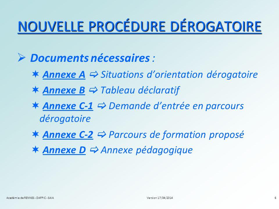 Version 17/04/2014Académie de RENNES - DAFPIC - SAIA6 NOUVELLE PROCÉDURE DÉROGATOIRE Documents nécessaires : Annexe A Situations d orientation dérogat
