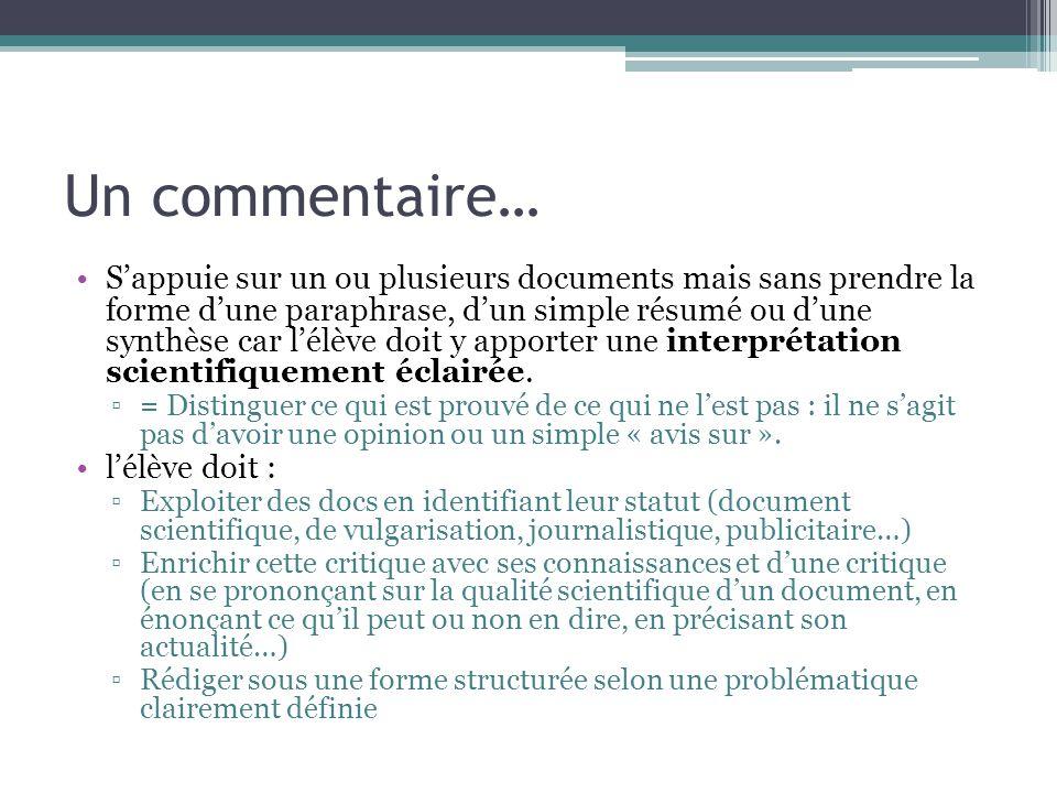 Un commentaire… Sappuie sur un ou plusieurs documents mais sans prendre la forme dune paraphrase, dun simple résumé ou dune synthèse car lélève doit y