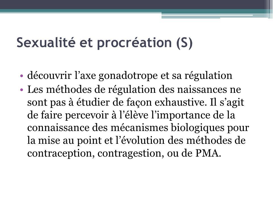 Sexualité et procréation (S) découvrir laxe gonadotrope et sa régulation Les méthodes de régulation des naissances ne sont pas à étudier de façon exha