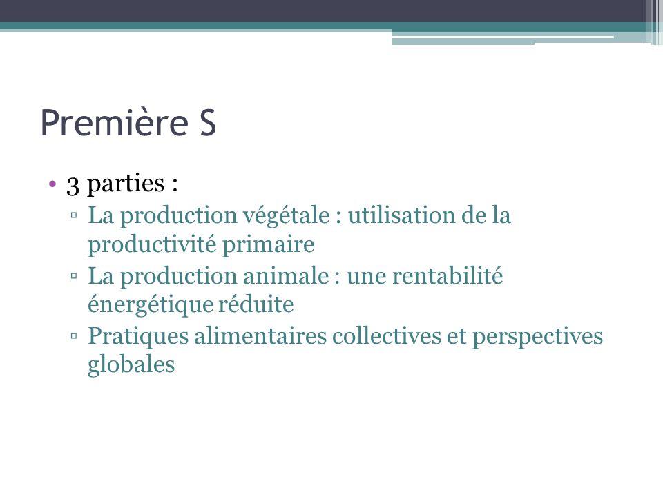 Première S 3 parties : La production végétale : utilisation de la productivité primaire La production animale : une rentabilité énergétique réduite Pr