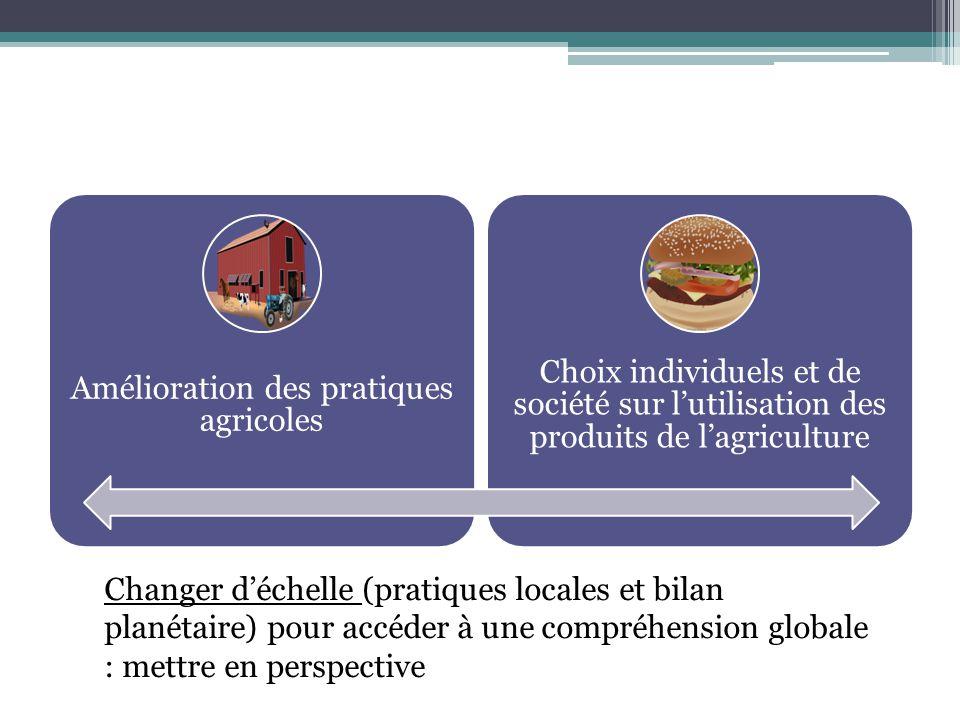 Amélioration des pratiques agricoles Choix individuels et de société sur lutilisation des produits de lagriculture Changer déchelle (pratiques locales