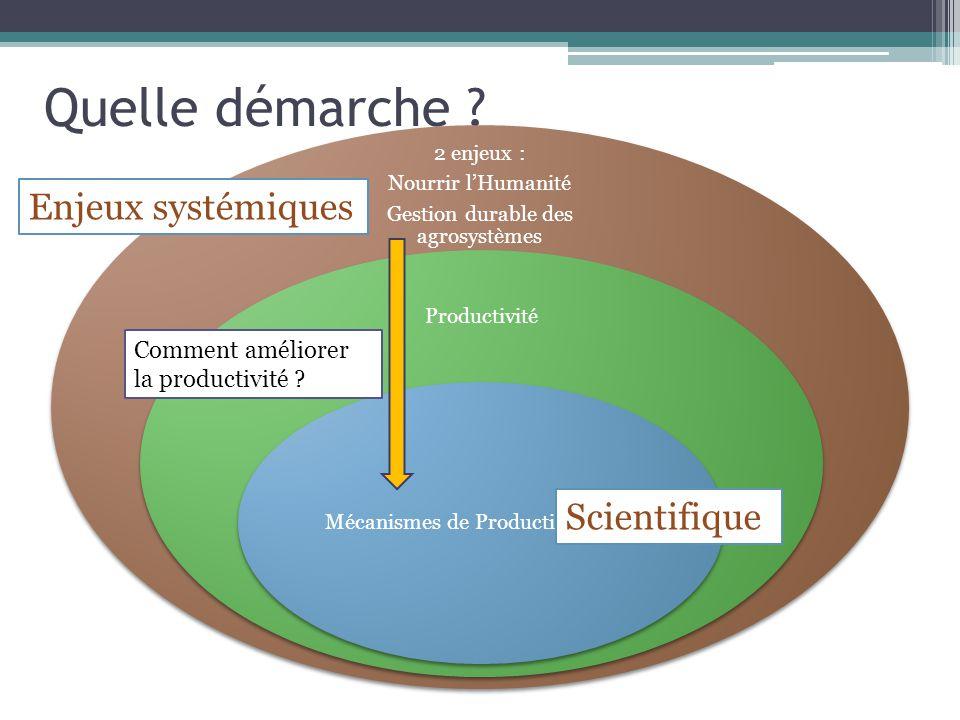 Quelle démarche ? 2 enjeux : Nourrir lHumanité Gestion durable des agrosystèmes Productivité Mécanismes de Production (2 nde ) Enjeux systémiques Scie