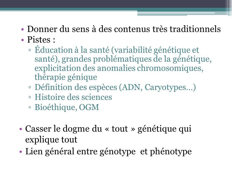 Donner du sens à des contenus très traditionnels Pistes : Éducation à la santé (variabilité génétique et santé), grandes problématiques de la génétiqu