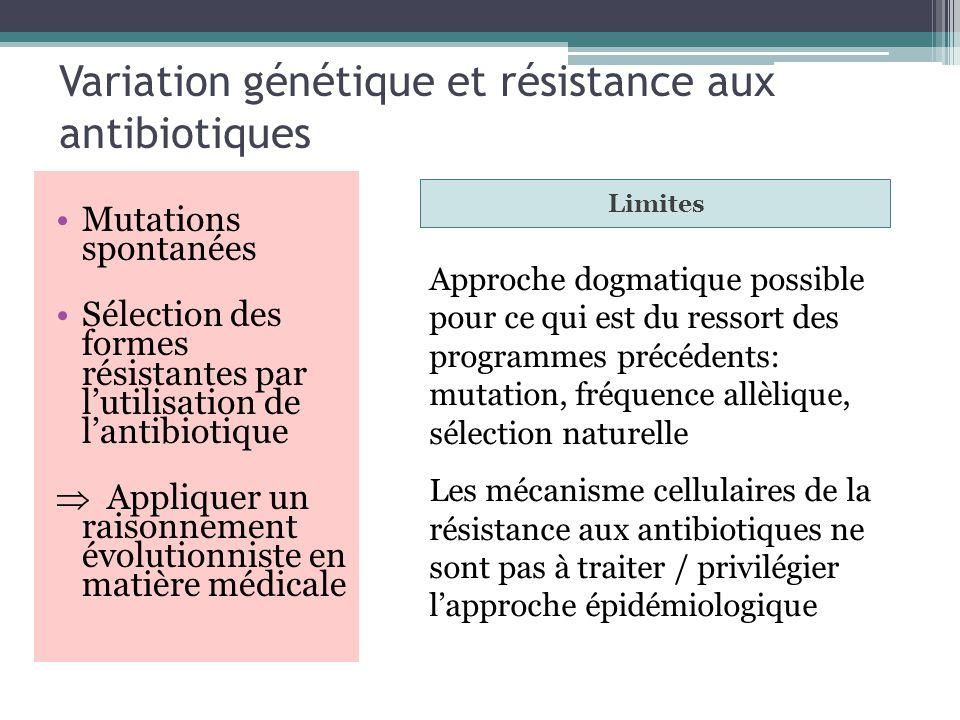 Variation génétique et résistance aux antibiotiques Mutations spontanées Sélection des formes résistantes par lutilisation de lantibiotique Appliquer