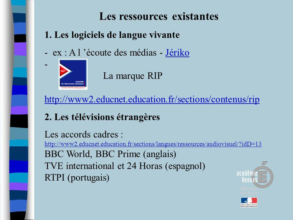 Les ressources existantes 1. Les logiciels de langue vivante - ex : A l écoute des médias - Jériko - La marque RIP http://www2.educnet.education.fr/se