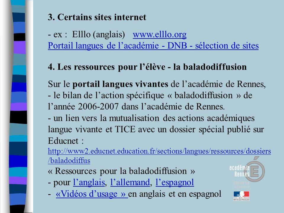 3. Certains sites internet - ex : Elllo (anglais) www.elllo.org Portail langues de lacadémie - DNB - sélection de siteswww.elllo.org Portail langues d