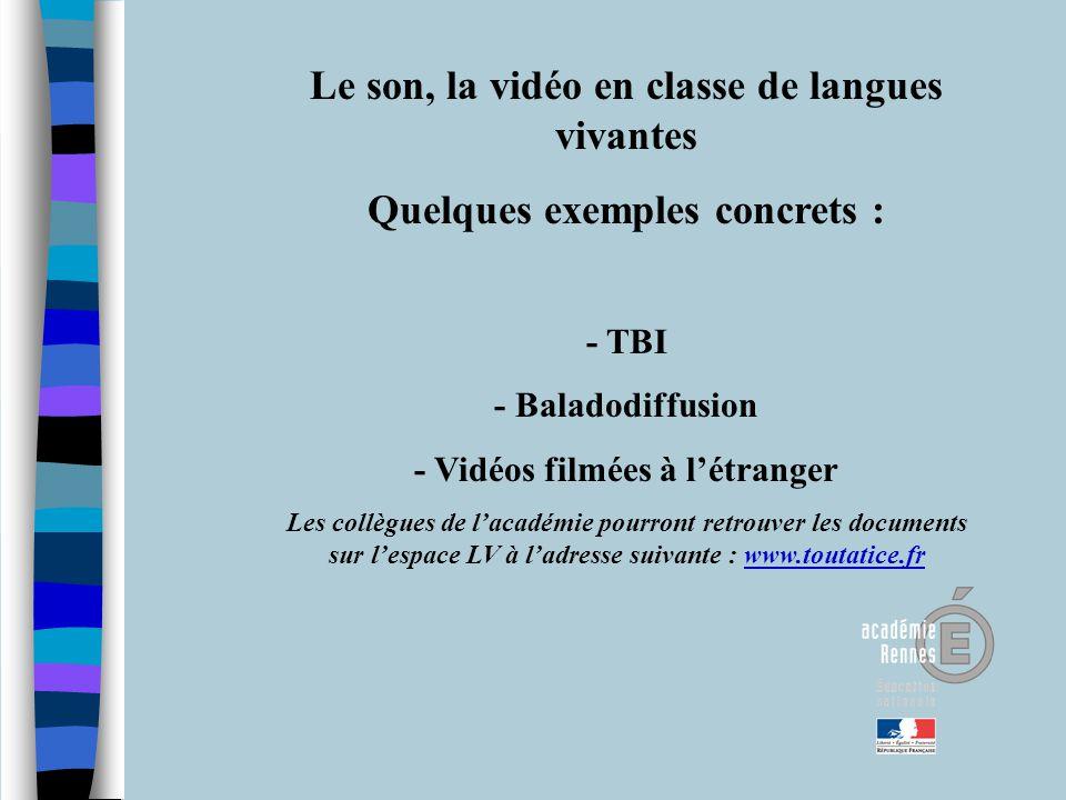 Le son, la vidéo en classe de langues vivantes Quelques exemples concrets : - TBI - Baladodiffusion - Vidéos filmées à létranger Les collègues de laca