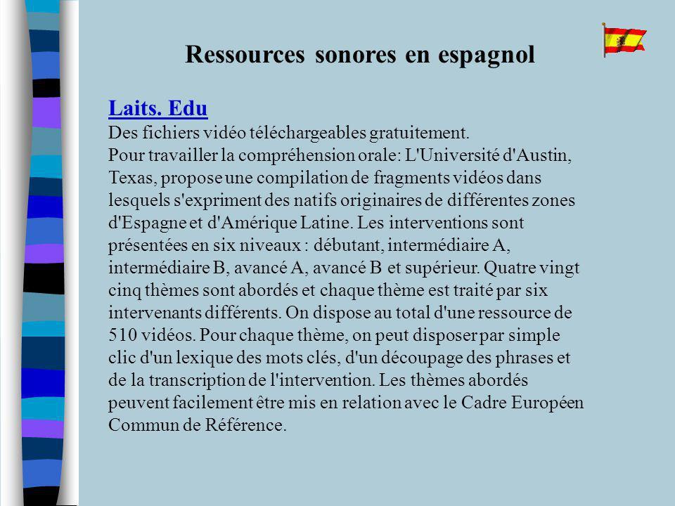 Ressources sonores en espagnol Laits. Edu Laits.